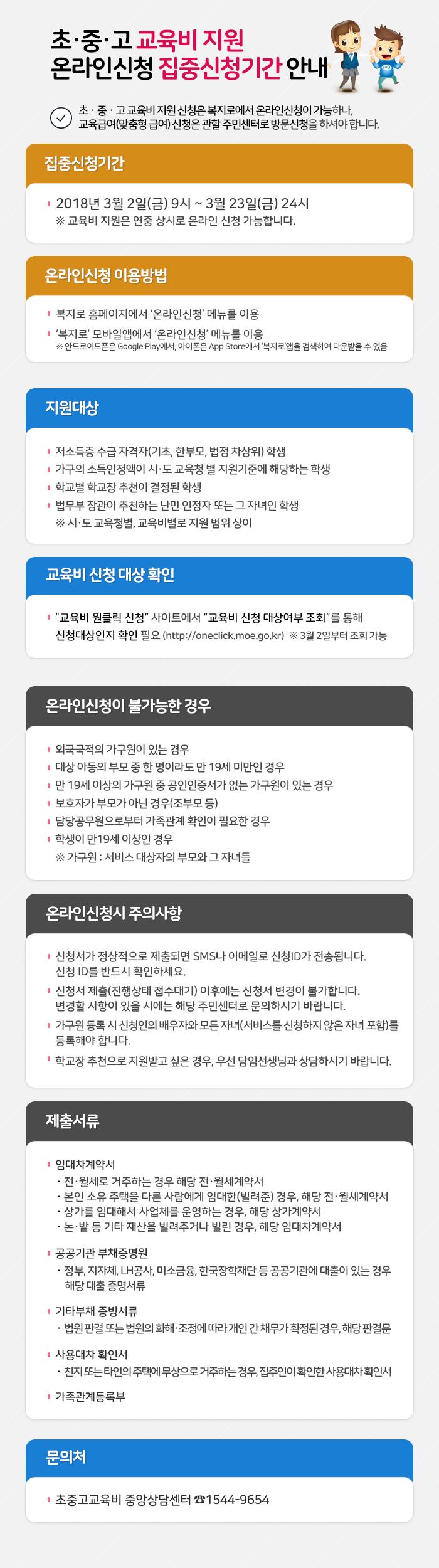 초ㆍ중ㆍ고 교육비 지원 온라인신청 집중신청기간 안내